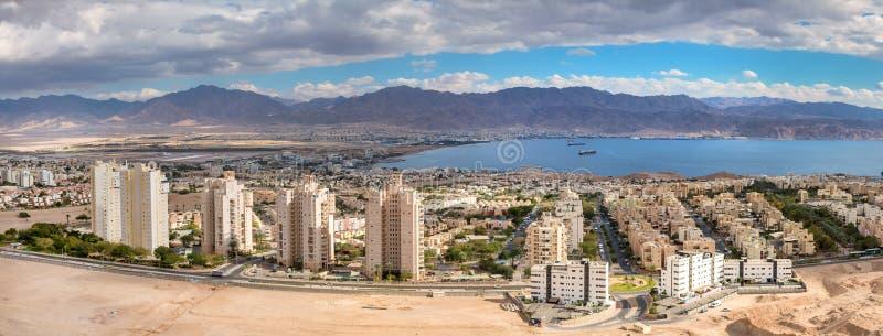 EILAT, ISRAREL - JANUARY 04, 2018: Aerial panoramic view on Eilat Israel and Aqaba Jordan stock images