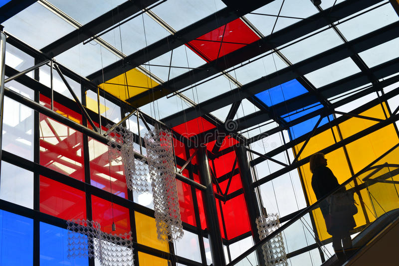 Wroclaw - Renoma store with red yellow blue glass walls stock image