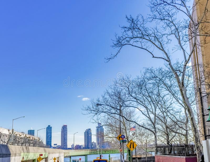 NY Cityscape with Buildings and Bridge over Wayer stock images