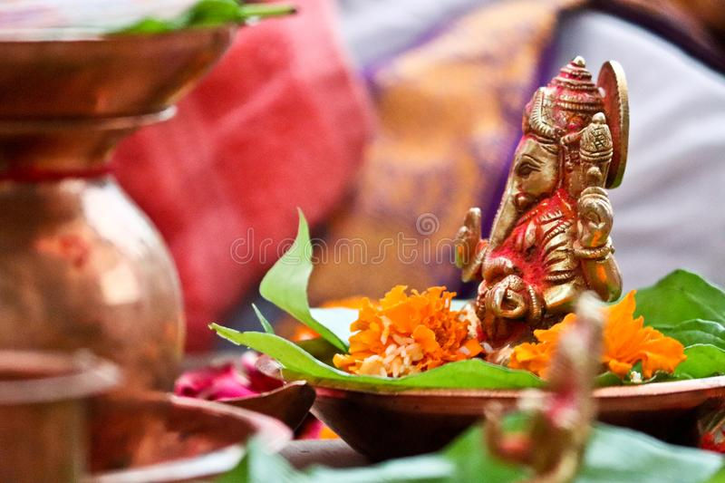 Lord Ganesh India. This image was taken on wedding day ceremony. In india hindu religion first worship lord ganesh before starting any good deed or occasions royalty free stock photos