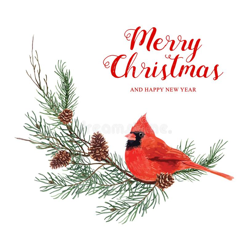 Free Image Watercolor Bullfinches On Pine Branches And Holly. Stock Photo - 131460900