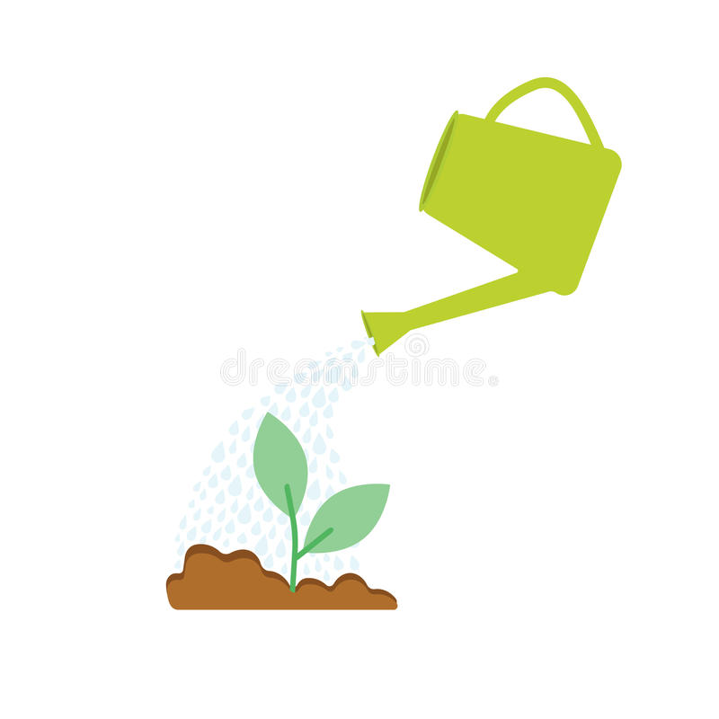 Image of watering plants with can stock illustration