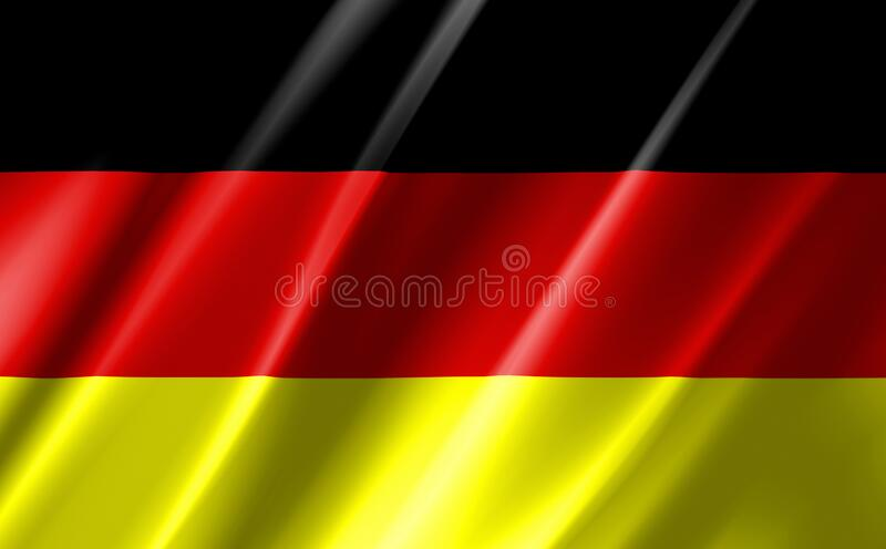 Image of a waving German flag. stock illustration