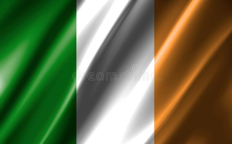 Image of a waving Irish flag. Image of a waving Irish  flag vector illustration