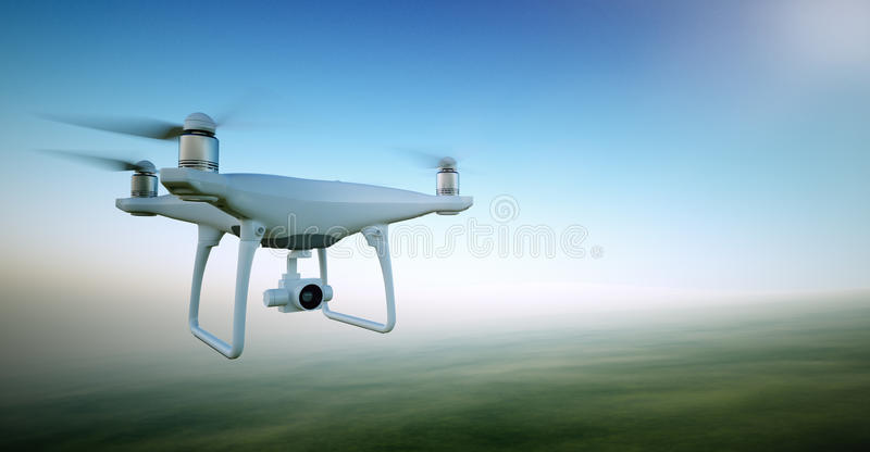 Image White Matte Generic Design Air Drone with video action camera Flying Sky under the Earth Surface. Green Fields. Background. Wide, front side angle view
