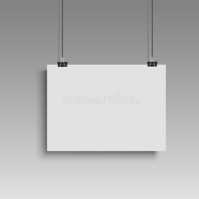 Image white poster hanging on binder. Grey wall with mock up empty paper blank. Vector royalty free illustration
