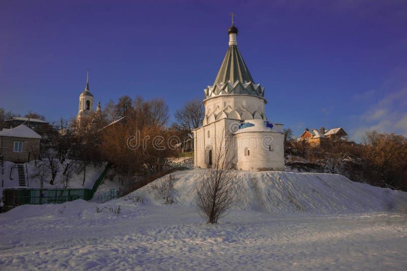 White stone church on banks of  Volga in Murom. Image of white stone church on banks of Volga in Murom stock photo