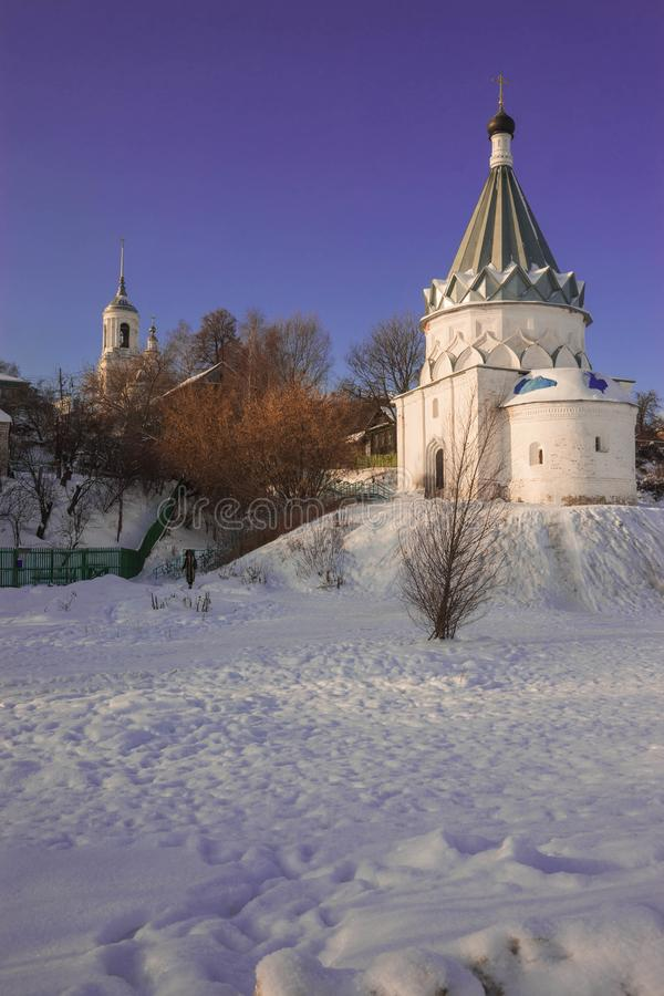 White stone church on banks of Volga in Murom. Image of white stone church on banks of Volga in Murom royalty free stock photography