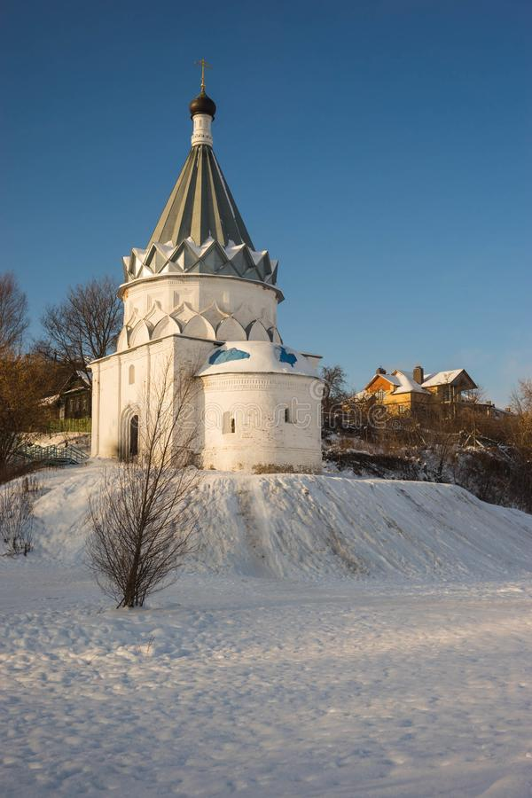 White stone church on banks of Volga in Murom. Image of white stone church on banks of Volga in Murom royalty free stock image