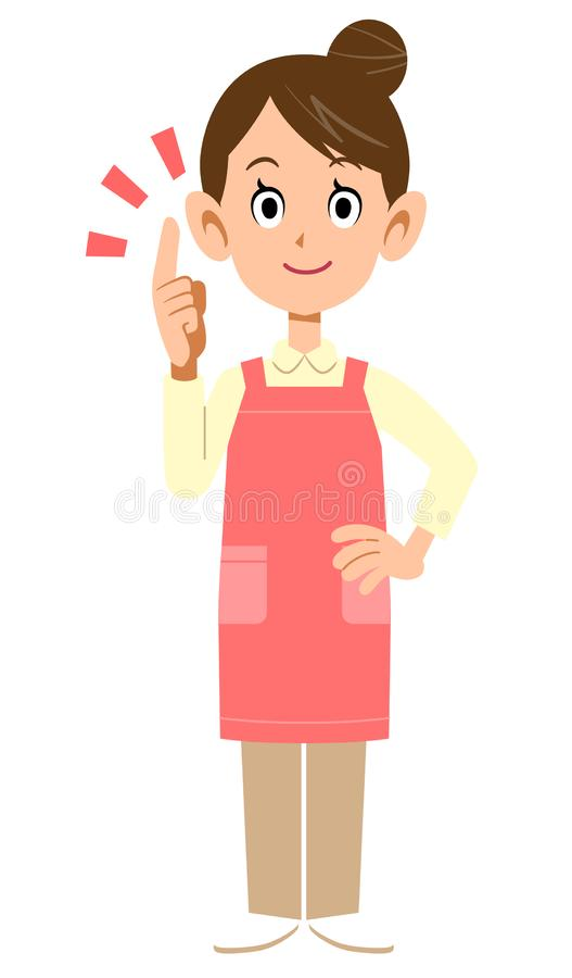 A woman with an apron explaining the main points. The image of A woman with an apron explaining the main points stock illustration