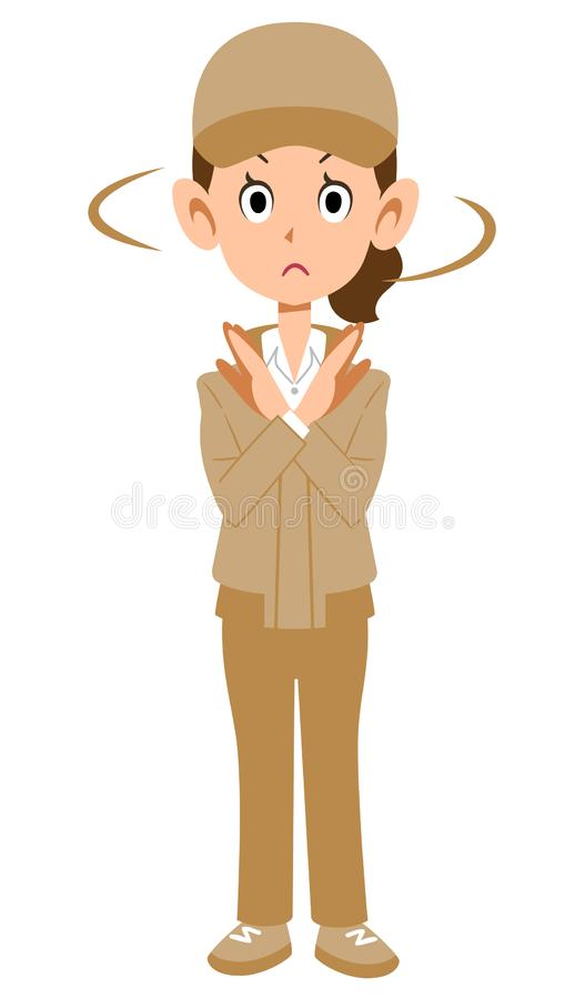 Woman in beige work wear showing denial gesture. The image of a Woman in beige work wear showing denial gesture royalty free illustration