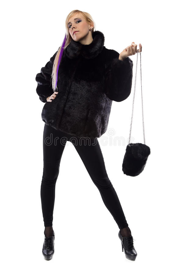 Image of woman with fur bag, hand up royalty free stock photography