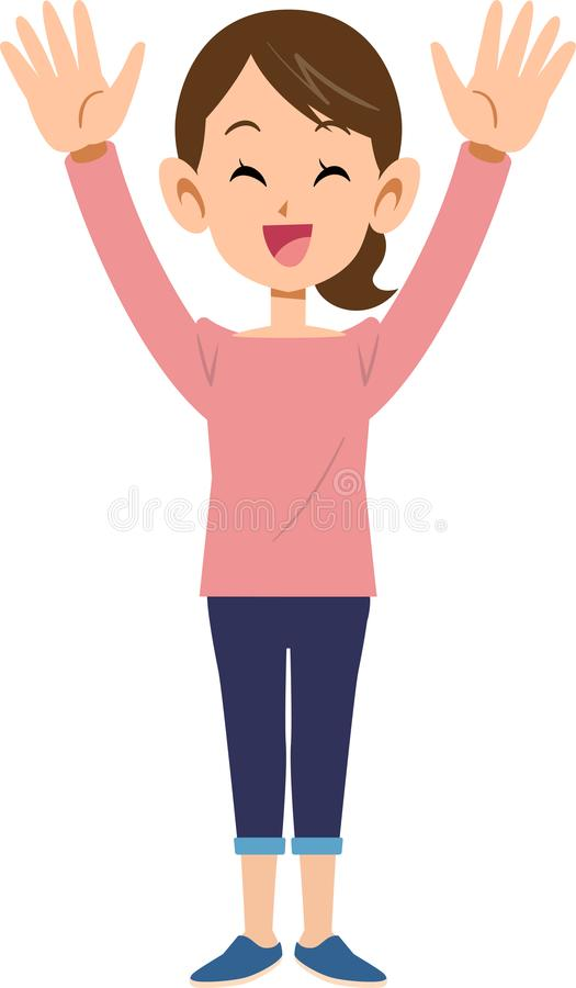 A woman glad that raises her hands. The image of A woman glad that raises her hands, with smile stock illustration