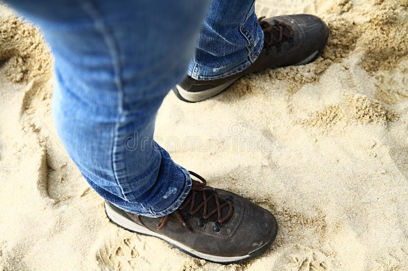 Woman in her walking boots. Image of woman in her walking boots stock photos