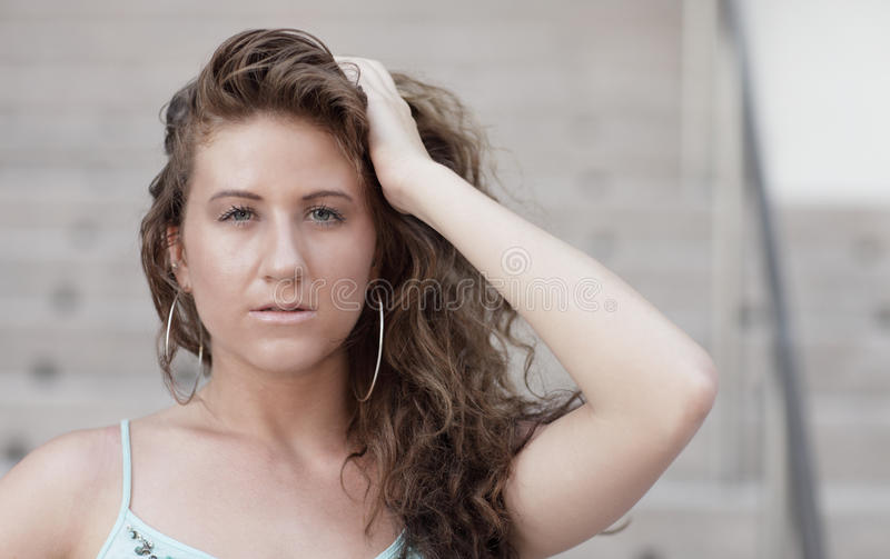 Download Image Of A Woman Touching Her Head Stock Image - Image of hair, daytime: 15627125