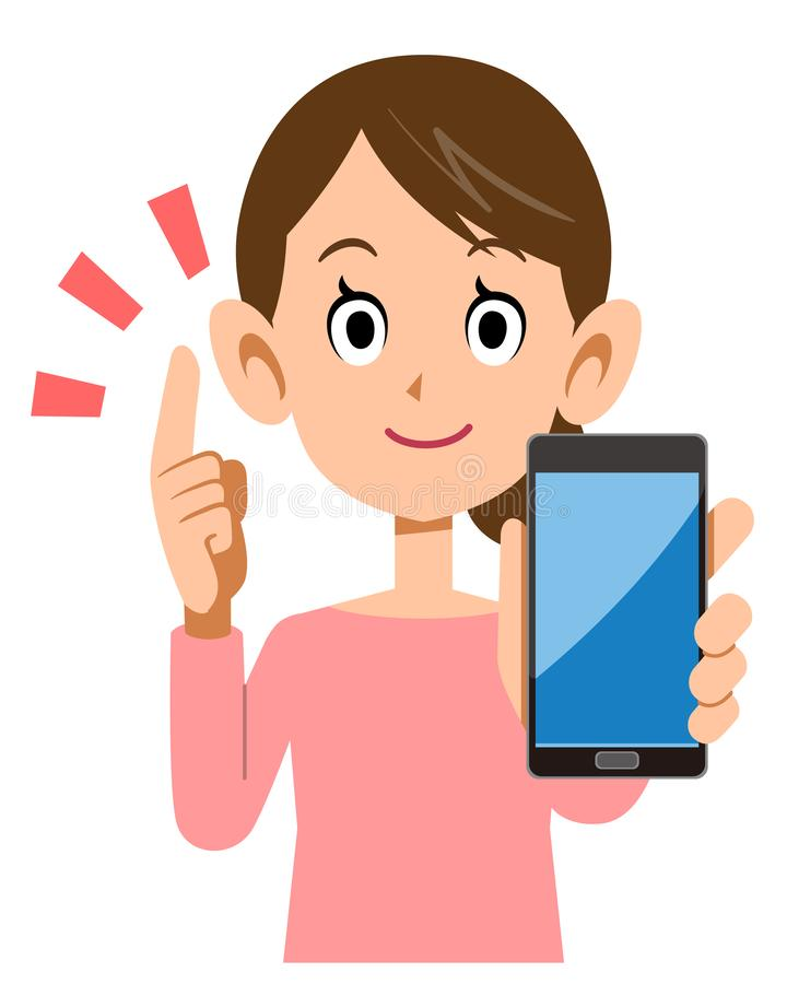 A woman who holds a smartphone and explains the main points. The image of A woman who holds a smartphone and explains the main points stock illustration