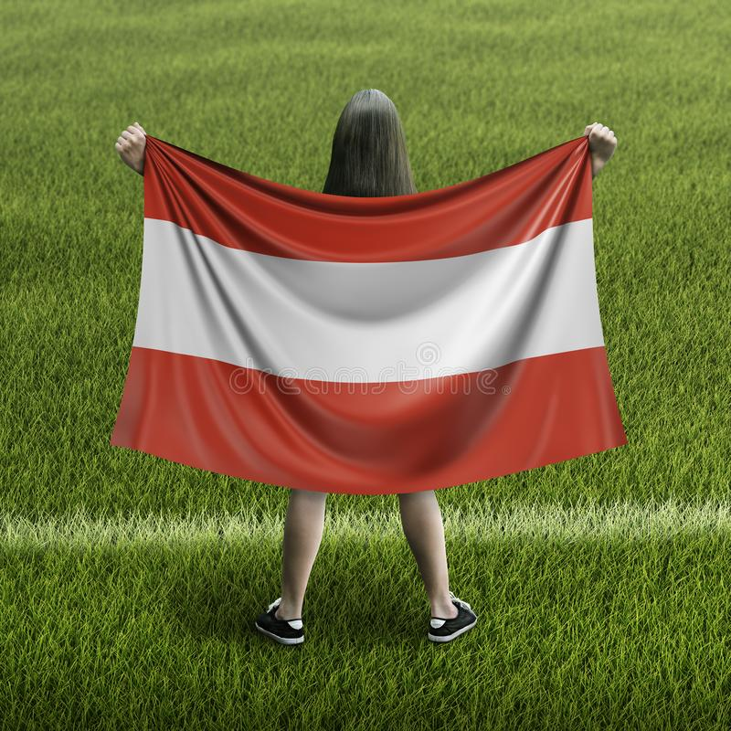 Women and Austrian flag. Image of Women and Austrian flag stock illustration