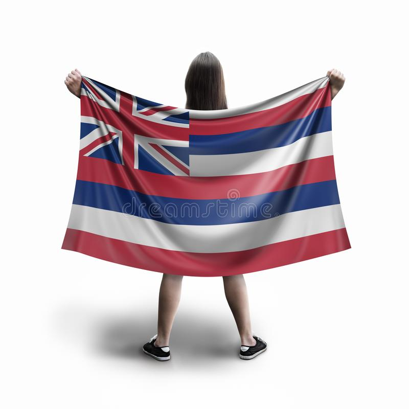 Women and Hawaii flag. Image of Women and Hawaii flag royalty free stock photo
