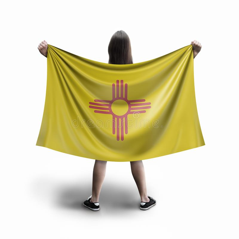 Women and New Mexico flag. Image of Women and New Mexico flag stock photos