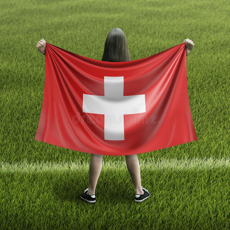 Women and Swiss flag. Image of Women and Swiss flag royalty free stock photo