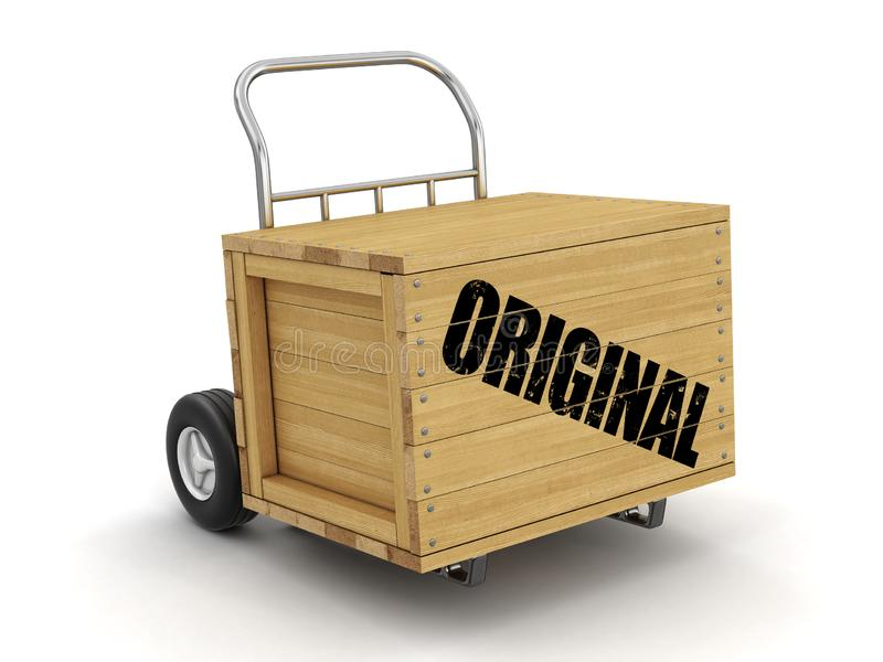 Wooden crate with Original on Hand Truck. Image with clipping path. Image of Wooden crate with Original on Hand Truck. Image with clipping path royalty free illustration