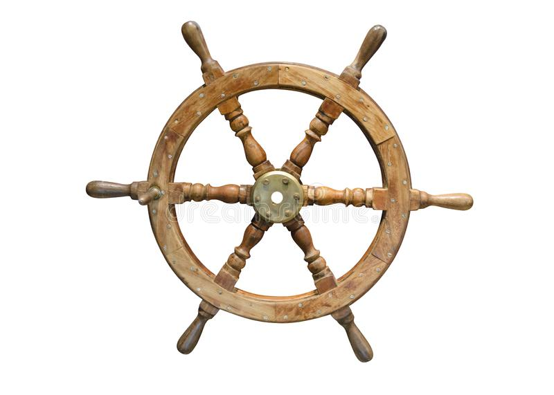 Wooden steering wheel isolated on white background royalty free stock photos