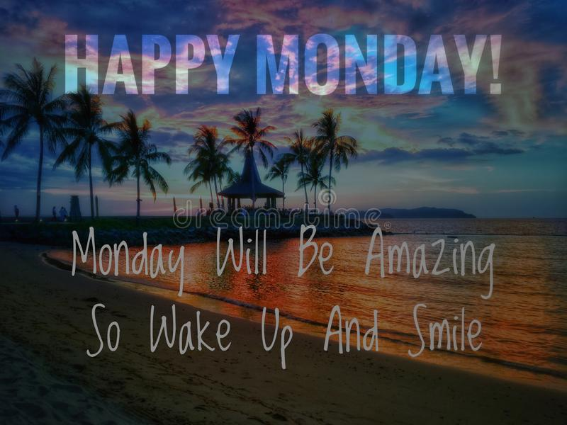 Happy monday. Image with wordings or quotes about monday stock images