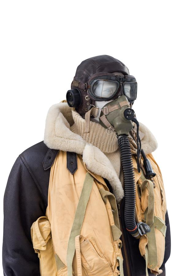 WWII military pilot suit isolated on white background stock photo
