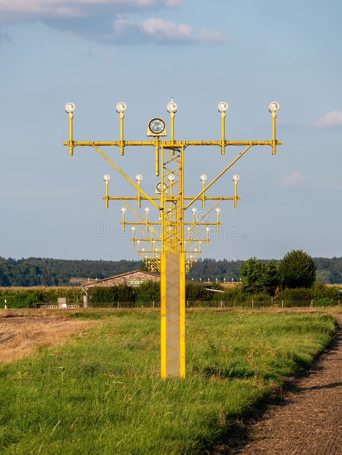 Image of yellow airport signal lights for airplanes royalty free stock photography