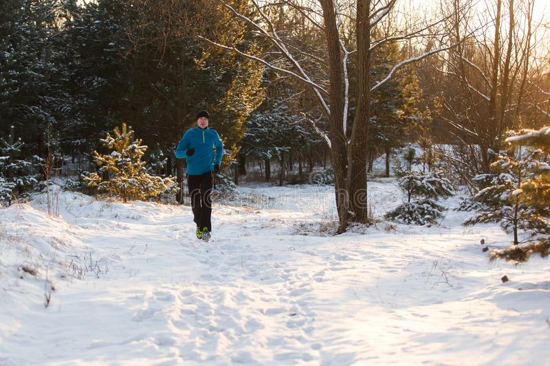 Image of young athlete running through winter forest royalty free stock photo
