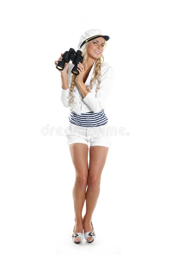 Download Image Of A Young Sailor Girl Holding Binoculars Stock Image - Image of face, happy: 14952769