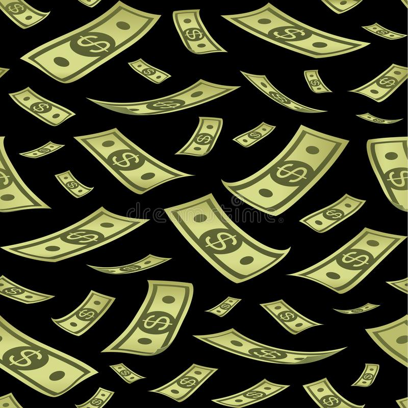 Seamless pattern with money. Rain of banknotes on black background. royalty free illustration