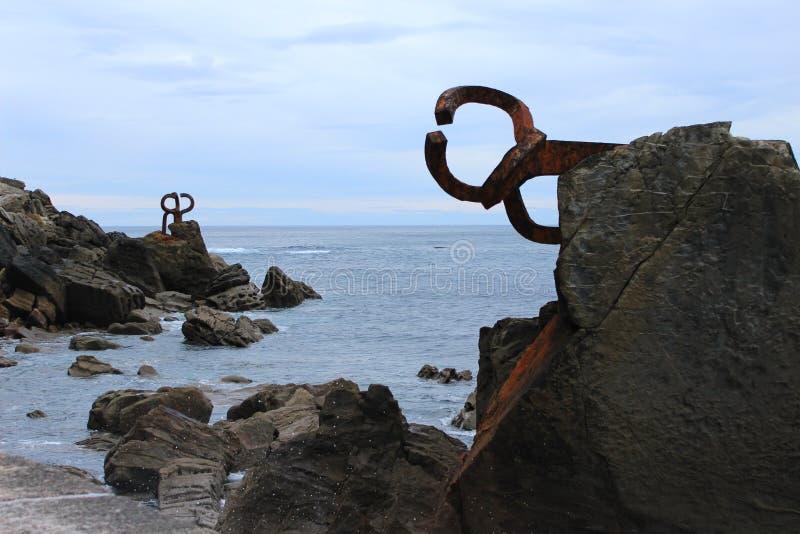 Imagem 'de peine de los vientos' em San Sebastian imagens de stock royalty free
