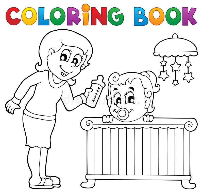 Imagem 1 do tema do bebê do livro para colorir ilustração stock