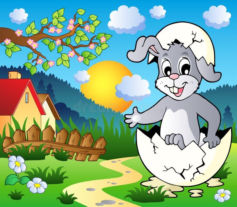 Imagem 3 do tema do coelho de Easter ilustração royalty free