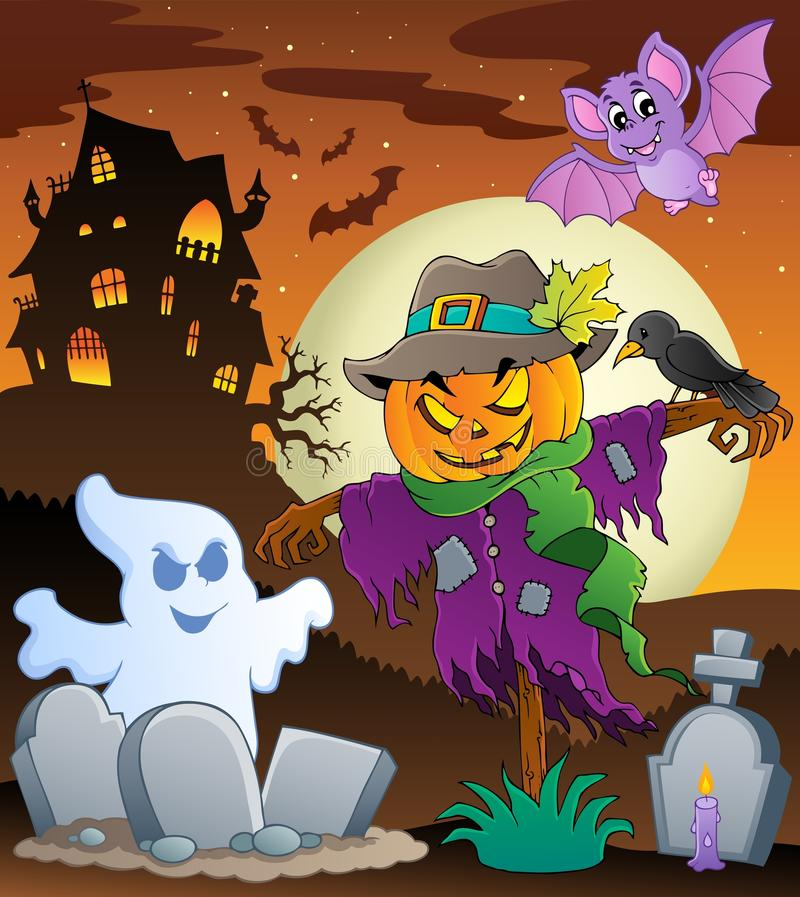 Imagem 3 do tema do espantalho de Halloween ilustração royalty free