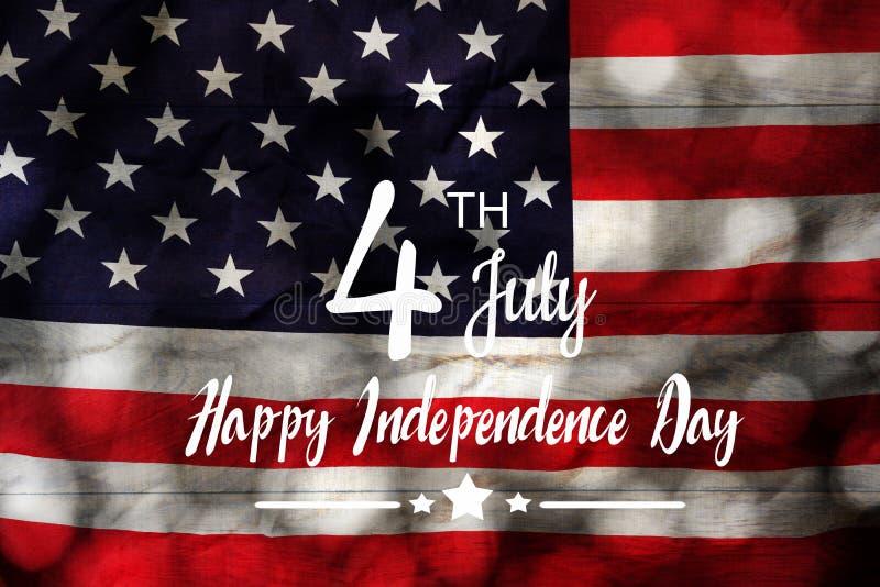 Imagem aérea da opinião de tampo da mesa do conceito do fundo do feriado do Dia da Independência do 4 de julho ilustração royalty free