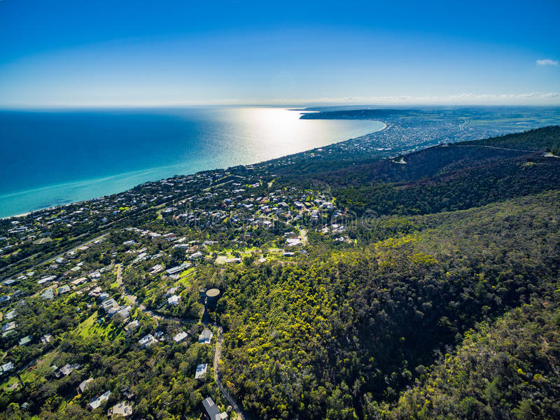Imagem aérea da península de Mornington foto de stock royalty free