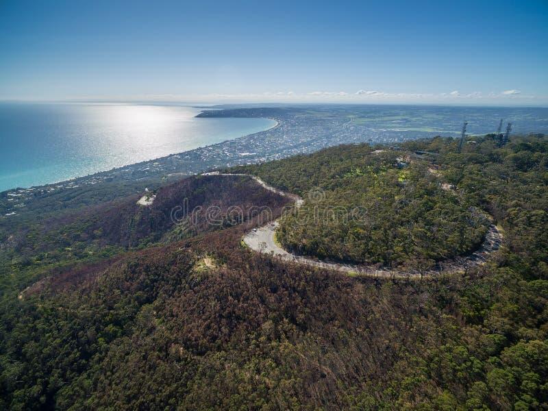 Imagem aérea da península de Mornington imagens de stock royalty free