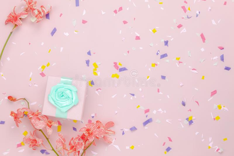 Imagem aérea da vista superior do conceito feliz do fundo do feriado ou do aniversário do dia de mães da decoração fotografia de stock