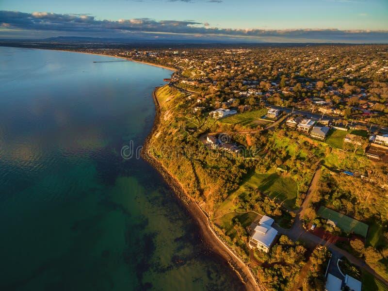 Imagem aérea do litoral de Frankston imagens de stock