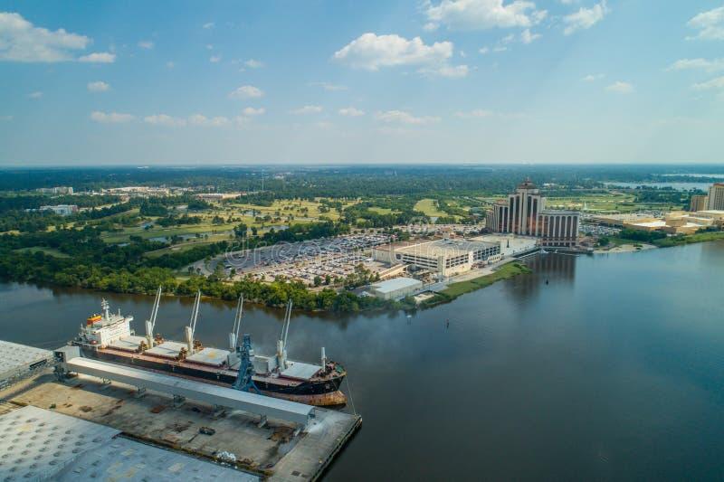 Imagem aérea do porto do porto de Lake Charles fotos de stock royalty free