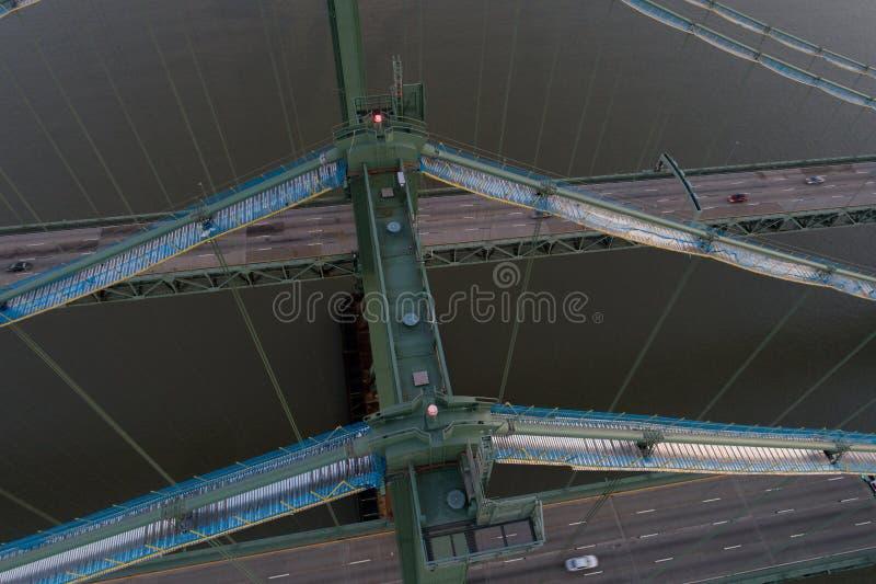Imagem aérea do zangão da ponte de memorial de Delaware fotografia de stock