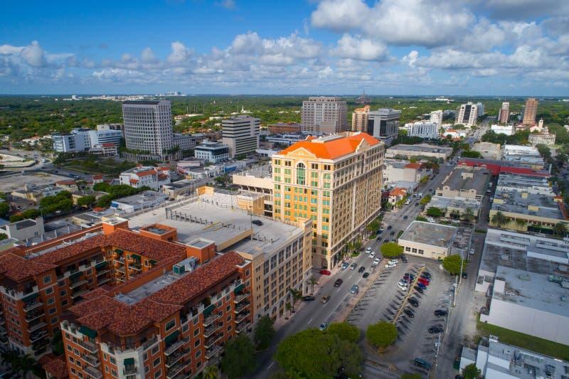 Imagem aérea do zangão de Coral Gables Miami FL imagens de stock