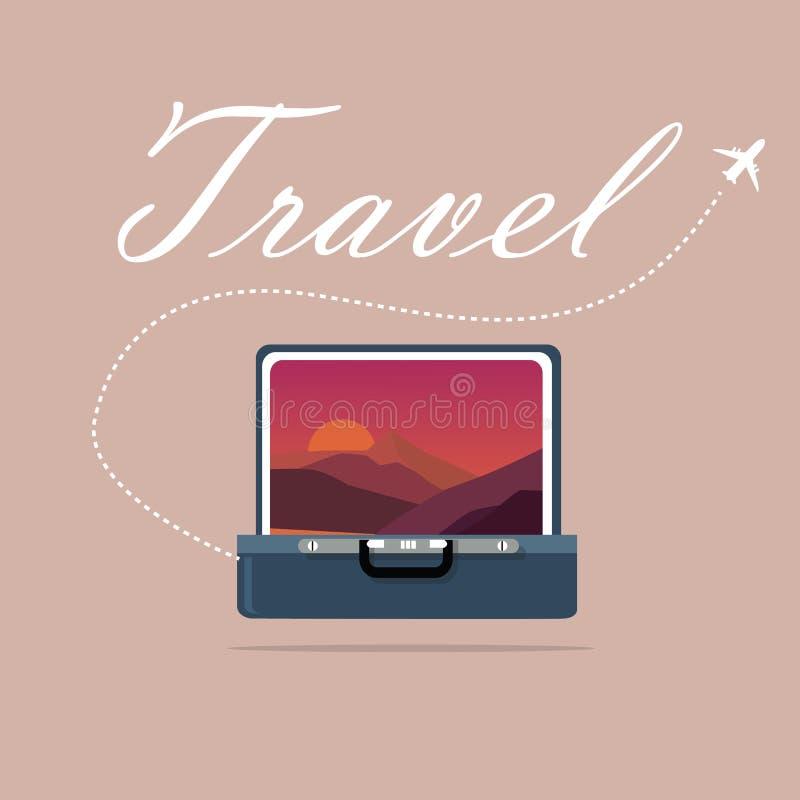 Imagem aberta do caso do curso da exploração de viagem da viagem do símbolo do nascer do sol do céu e do por do sol da paisagem ilustração royalty free