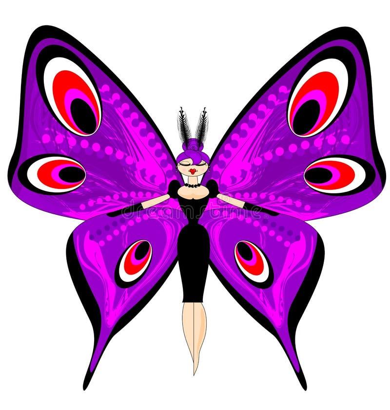 Imagem abstrata da cor da grande borboleta roxa da menina ilustração do vetor