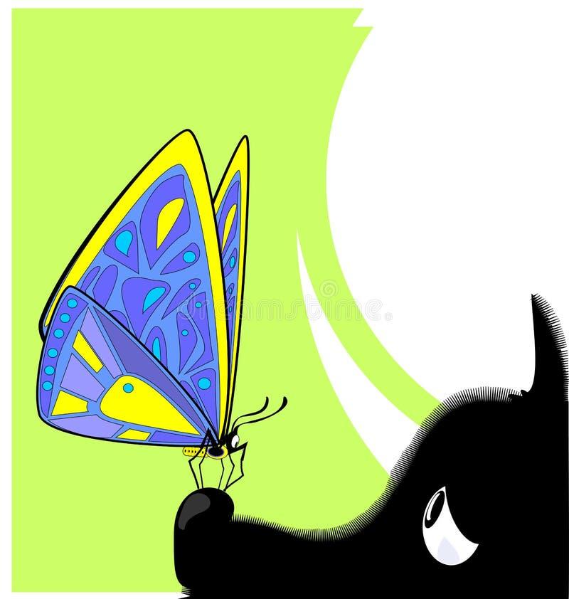 Imagem abstrata da cor da grandes borboleta e cão ilustração do vetor