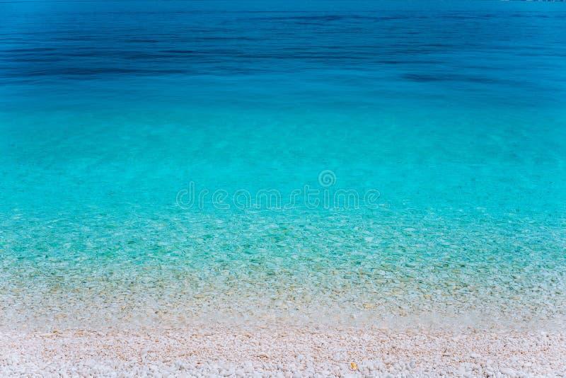 Imagem abstrata da decoração bonita do fundo da água do mar azul clara das horas de verão água transparente clara Jogo de imagem de stock royalty free