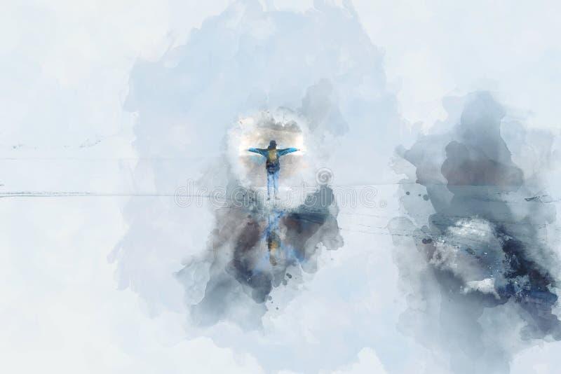 Imagem abstrata da posição do homem e para estender os braços, pintura digital da aquarela ilustração royalty free