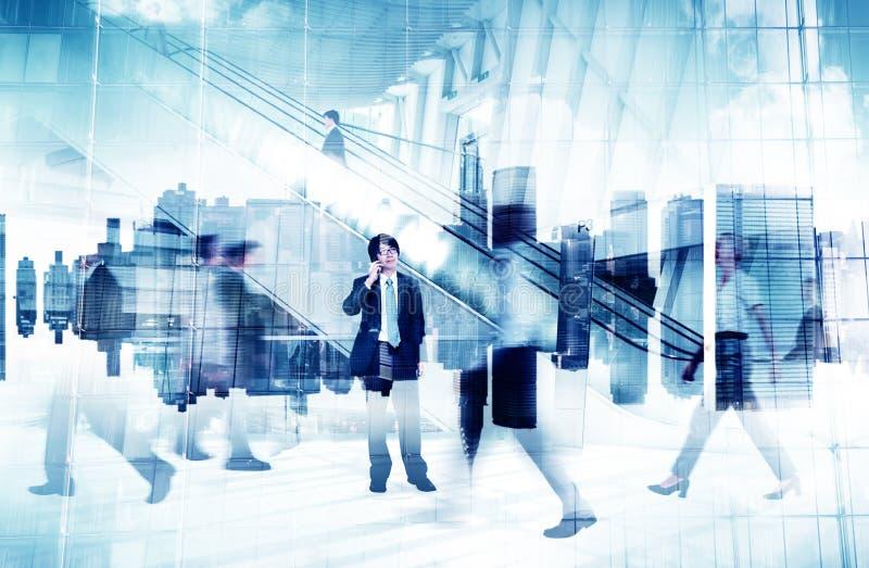 Imagem abstrata da vida ocupada de pessoa de negócio imagem de stock